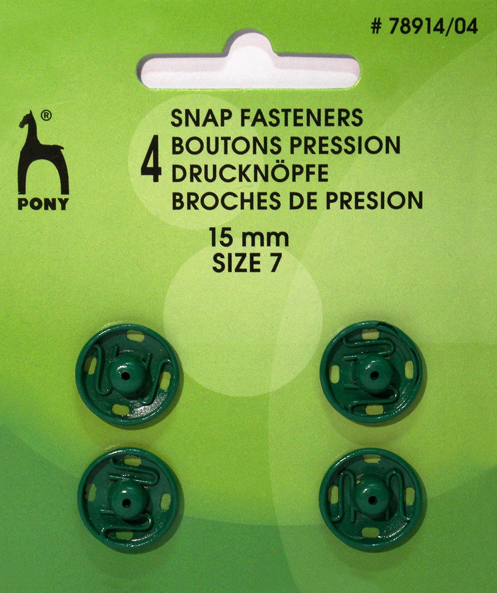 Кнопки одежные Pony, 15 мм, цвет: зеленый, 4 шт. 78914/0478914/04Кнопки одежные. Латунь. Один размер. Диаметр 15 мм. Зеленые. 4 шт. Картон.
