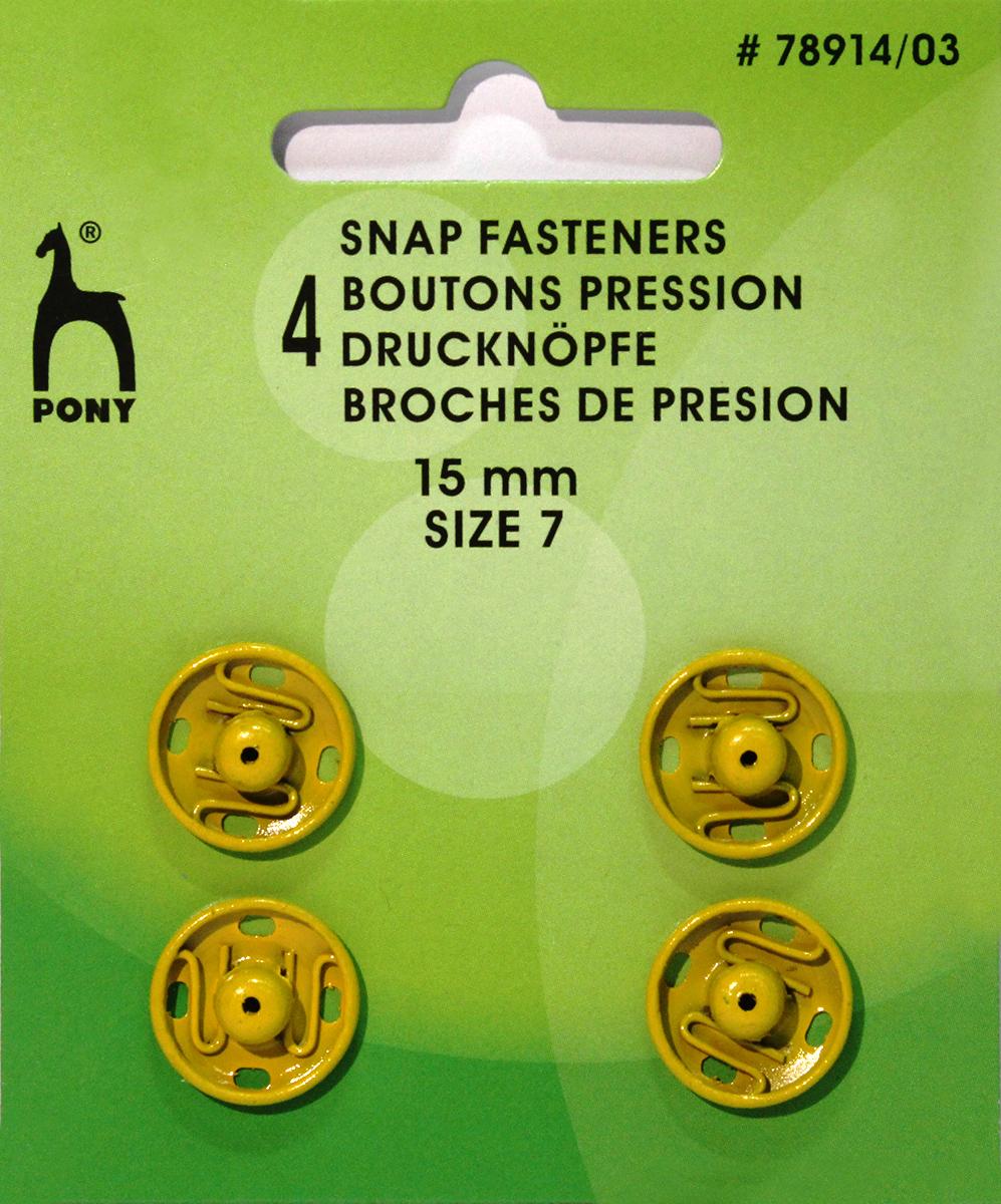 Кнопки одежные Pony, 15 мм, цвет: желтый, 4 шт. 78914/0378914/03Кнопки одежные. Латунь. Один размер. Диаметр 15 мм. Желтые. 4 шт. Картон.