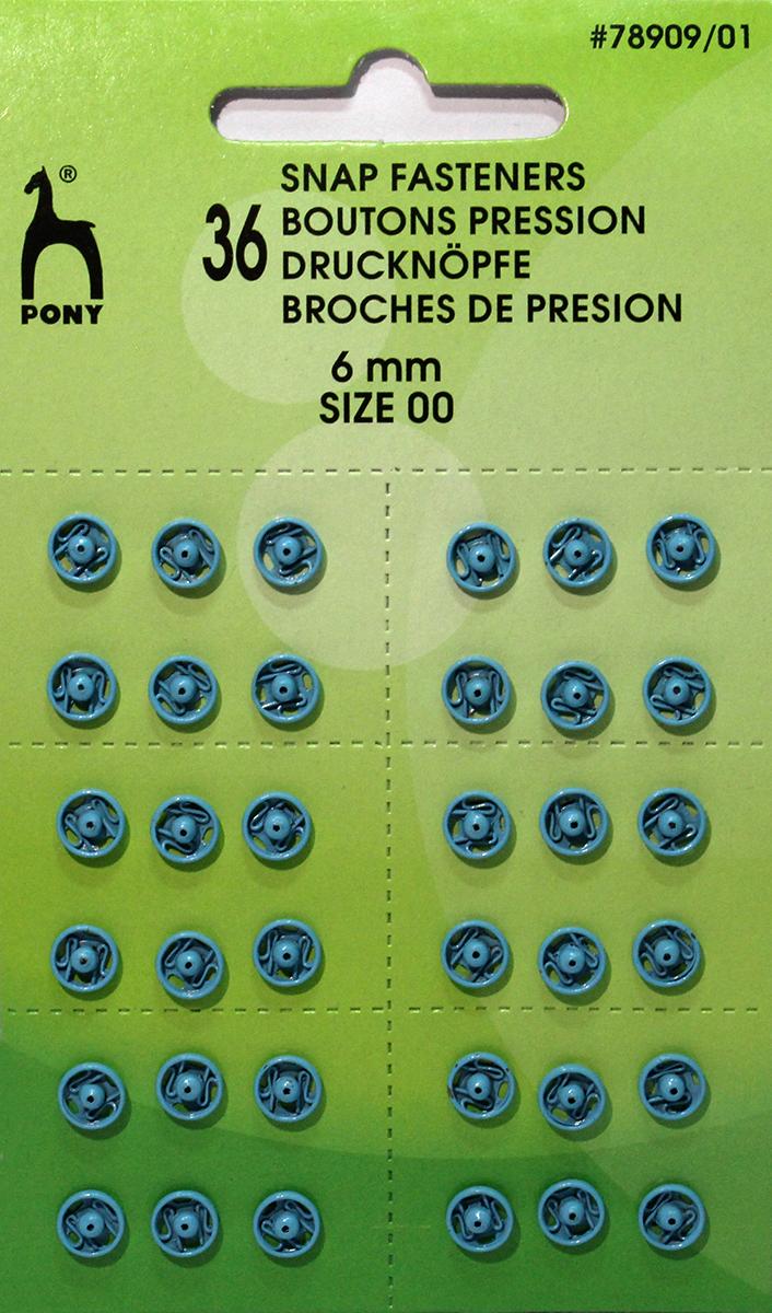 Кнопки одежные Pony, 6 мм, цвет: синий, 36 шт. 78909/0178909/01Кнопки одежные. Латунь. Один размер. Диаметр 6 мм. Синие. 36 шт. Картон.