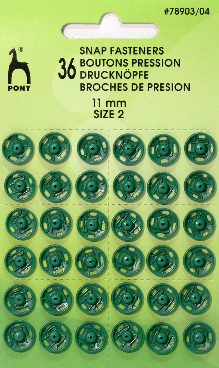 Кнопки одежные Pony, 11 мм, цвет: зеленый, 36 шт. 78903/0478903/04Кнопки одежные. Латунь. Один размер. Диаметр 11 мм. Зеленые. 36 шт. Картон.