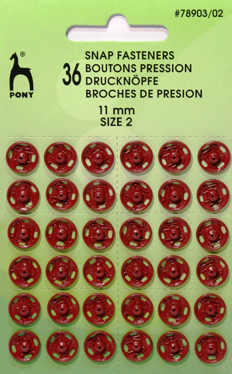 Кнопки одежные Pony, 11 мм, цвет: красный, 36 шт. 78903/0278903/02Кнопки одежные. Латунь. Один размер. Диаметр 11 мм. Красные. 36 шт. Картон.