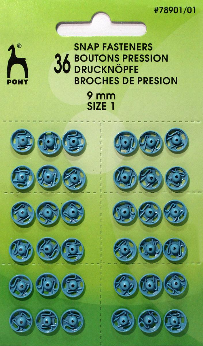 Кнопки одежные Pony, 9 мм, цвет: синий, 36 шт. 78901/0178901/01Кнопки одежные. Латунь. Один размер. Диаметр 9 мм. Синие. 36 шт. Картон.