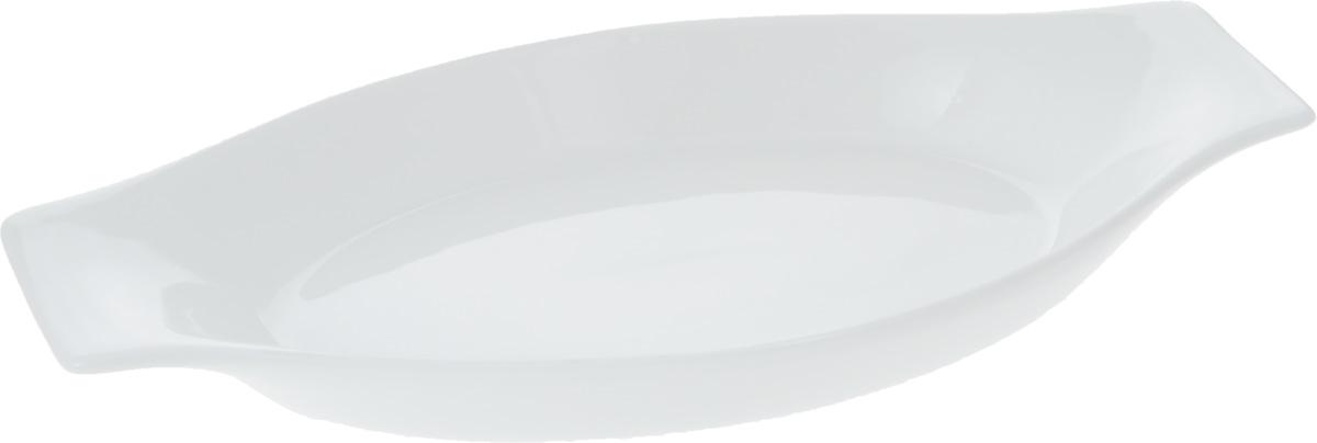 Форма для запекания Wilmax, 25,5 х 13,5 смWL-997011 / AФорма для запекания Wilmax выполнена из белого фарфора высокого качества с глазурованным покрытием и оснащена небольшими ручками. Фарфор от Wilmax изготовлен по уникальному рецепту из сплава магния и алюминия, благодаря чему посуда обладает характерной белизной, прочностью и устойчивостью к сколами. Особый состав глазури обеспечивает гладкость и блеск поверхности изделия. Приятный глазу дизайн и отменное качество формы будут долго радовать вас. Можно мыть в посудомоечной машине и использовать в микроволновой печи. Форма пригодна для использования в духовых печах и выдерживает температуру до 300°С. Размер формы (без учета ручек): 20 х 13,5 х 3 см. Длина формы (с учетом ручек): 25,5 см.
