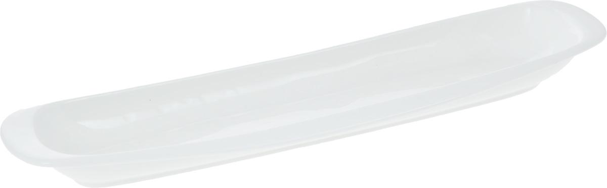 Блюдо Wilmax, 32,5 х 8,5 смWL-992644 / AОригинальное блюдо Wilmax, изготовленное из фарфора с глазурованным покрытием, прекрасно подойдет для подачи нарезок, закусок и других блюд. Фарфор от Wilmax изготовлен по уникальному рецепту из сплава магния и алюминия, благодаря чему посуда обладает характерной белизной, прочностью и устойчивостью к сколами. Особый состав глазури обеспечивает гладкость и блеск поверхности изделия. Оно украсит ваш кухонный стол, а также станет замечательным подарком к любому празднику. Можно мыть в посудомоечной машине и использовать в микроволновой печи. Изделие пригодно для использования в духовых печах и выдерживает температуру до 300°С.