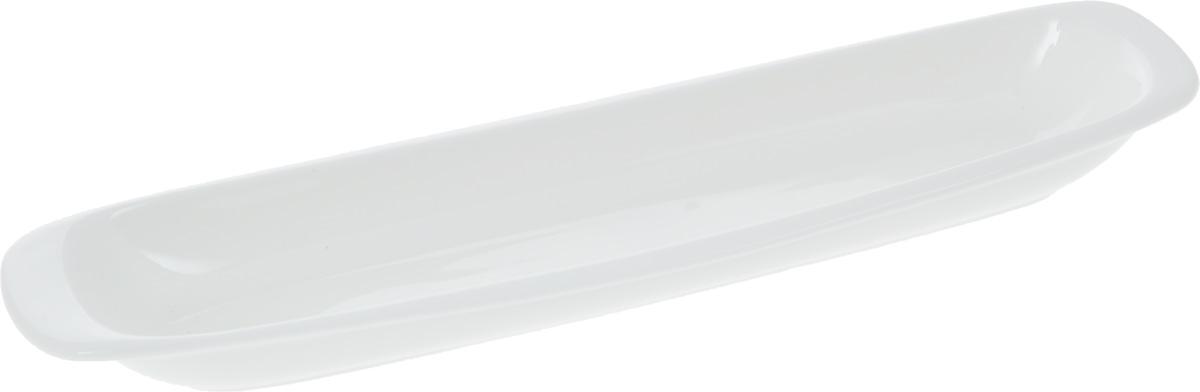 Блюдо Wilmax, 28 х 7,5 смWL-992643 / AОригинальное блюдо Wilmax, изготовленное из фарфора с глазурованным покрытием, прекрасно подойдет для подачи нарезок, закусок и других блюд. Фарфор от Wilmax изготовлен по уникальному рецепту из сплава магния и алюминия, благодаря чему посуда обладает характерной белизной, прочностью и устойчивостью к сколами. Особый состав глазури обеспечивает гладкость и блеск поверхности изделия. Оно украсит ваш кухонный стол, а также станет замечательным подарком к любому празднику. Можно мыть в посудомоечной машине и использовать в микроволновой печи. Изделие пригодно для использования в духовых печах и выдерживает температуру до 300°С.