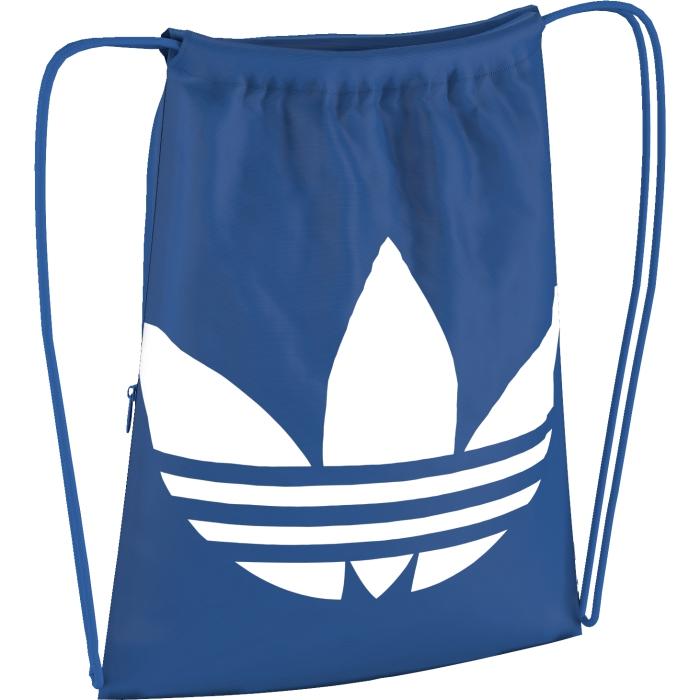 Рюкзак спортивный adidas Gymsack trefoil, цвет: голубой. AJ8987AJ8987Легкий спортивный рюкзак с классическим трилистником на лицевой стороне. Модель с завязками-шнурками, которые превращаются в веревочные лямки.
