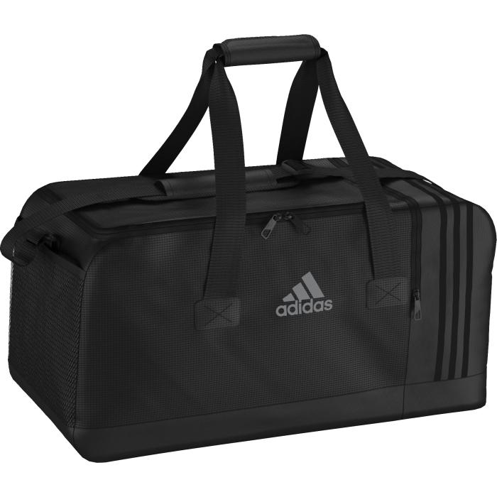 Сумка спортивная Adidas 3s per tb m, цвет: черный. AJ9993AJ9993СПОРТИВНАЯ СУМКА 3-STRIPES MEDIUM СУМКА СРЕДНЕГО РАЗМЕРА ДЛЯ СОХРАННОСТИ ЛЮБИМОЙ ЭКИПИРОВКИ. Убедись, что у тебя с собой есть все необходимое для эффективной тренировки. Эта спортивная сумка среднего размера с внутренними разделителями и вентилируемым отделением для обуви поможет держать экипировку в идеальном порядке. Двойные мягкие ручки и регулируемый наплечный ремень.