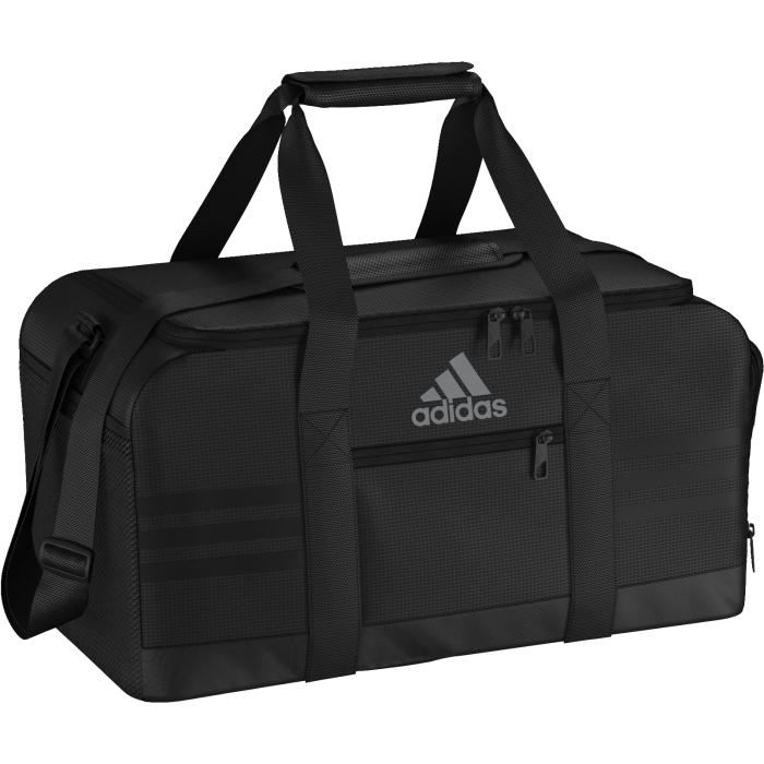 Сумка спортивная Adidas 3s per tb s, цвет: Черный. AJ9997AJ9997СУМКА 3-STRIPES PERFORMANCE СУМКА ДЛЯ СПОРТИВНОЙ ЭКИПИРОВКИ. Вместительная и удобная спортивная сумка. Отделение с разделителем — вещи просто складывать и удобно хранить. Вентилируемые боковые карманы для обуви или намокшей формы и наружный карман на молнии для мелочей. Две мягкие ручки для переноски.