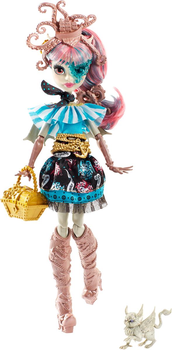 Monster High Кукла Рошель ГойлDTV88_DTV89Кукла Monster High Рошель Гойл, дочери горгульи на этот раз предстоит найти выход с необитаемого острова после кораблекрушения. И, конечно же, не обойдется без поиска сокровищ! Кукла одета в стильное платье с рюшами и поясом в виде якоря. Сапожки и сумочка в форме сундучка украшены драгоценными камнями. Модная шляпка-осьминог, питомец и маска в виде сердечка подчеркивают оригинальность образа настоящей пиратки. Длинные волосы куклы можно расчесывать. В набор входит кукла с аксессуарами. Руки и ноги у куклы шарнирные, это позволяет придать разнообразные позы. Порадуйте поклонницу Монстер Хай удивительной новинкой в пиратском стиле, подарив ей эту замечательную куколку.