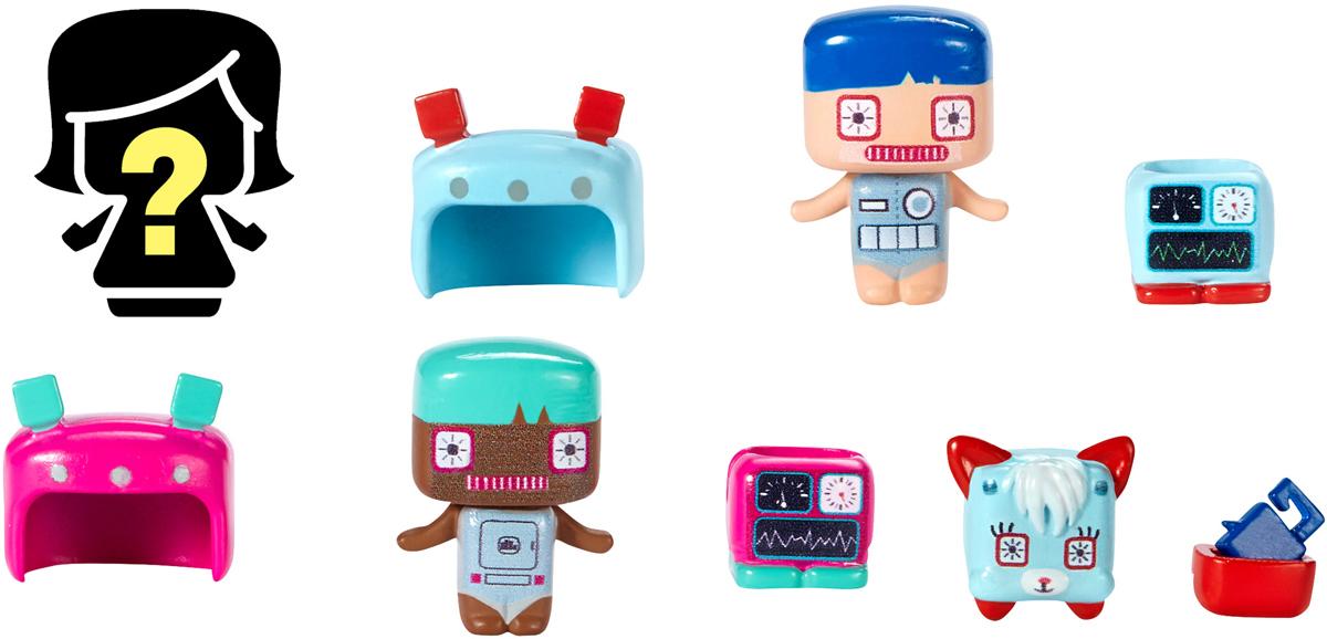 My Mini MixieQs Набор фигурок РоботыDVV01_DWR15Набор фигурок с аксессуарами My Mini MixieQs Роботы непременно приведет в восторг вашу малышку. В наборе три фигурки разных персонажей и животных. Только в этой серии можно встретить очаровательных питомцев MixieQs, например, щенка и котенка. Самое интересное в этих фигурках то, что разные персонажи могут меняться одеждой и прическами. Невозможно удержаться, чтобы не начать играть с ними сразу, достав из упаковки! Дети сами смогут создавать уникальные фигурки Mixiqes! В наборе имеются две видимые фигурки (они встречаются только в этом конкретном наборе) и одна скрытая. Скрытые фигурки распределены по всей серии, чтобы их было интереснее собирать.