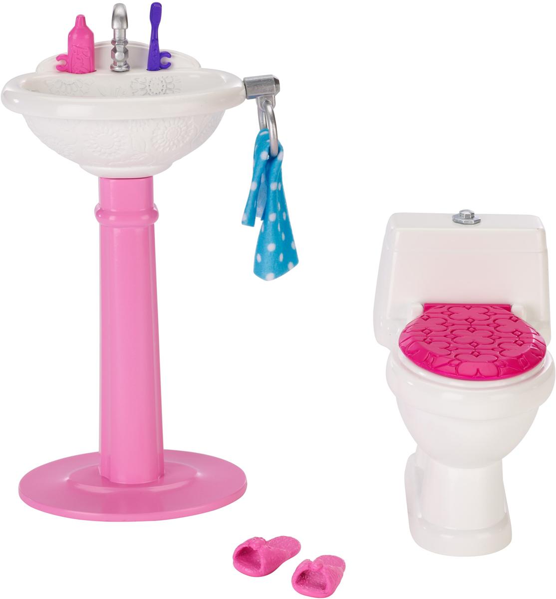 Barbie Игровой набор Ванная мечтыDXR91_DTJ69Кукла Barbie известна своим особым стилем. А теперь и каждая девочка может создать свой особый стиль. Богатый выбор мебели и аксессуаров позволит превратить дом Barbie в идеальное место для задуманной истории. В набор Ванная мечты входят: умывальник-тюльпан, унитаз, тапочки, полотенце, тюбик зубной пасты и зубная щетка. Прекрасная мебель, замечательные аксессуары в стиле Barbie подойдут к домам с самым разным дизайном.