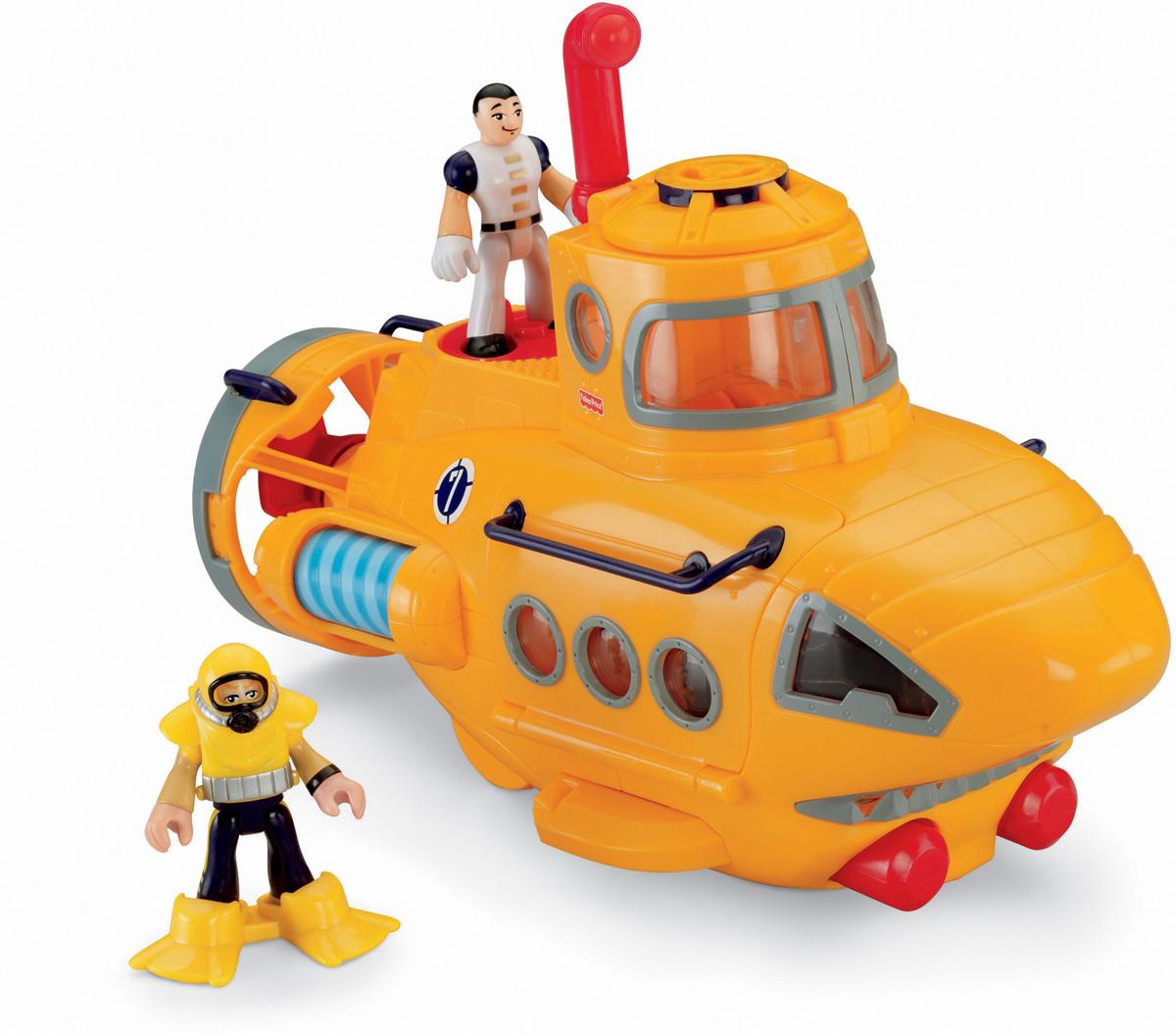 Imaginext СубмаринаP5487_N8270Субмарина Imaginext позволит ребенку придумать и реализовать множество увлекательных сюжетов. Для того, чтобы игры были реалистичными и могли надолго увлечь ребенка, дизайнеры проработали каждую деталь игрушки. В комплект к транспортному средству входят дополнительные фигурки главных действующих персонажей. Осталось только погрузиться в морскую глубину на подводной лодке. На этой роскошной субмарине можно осмотреть весь океан.