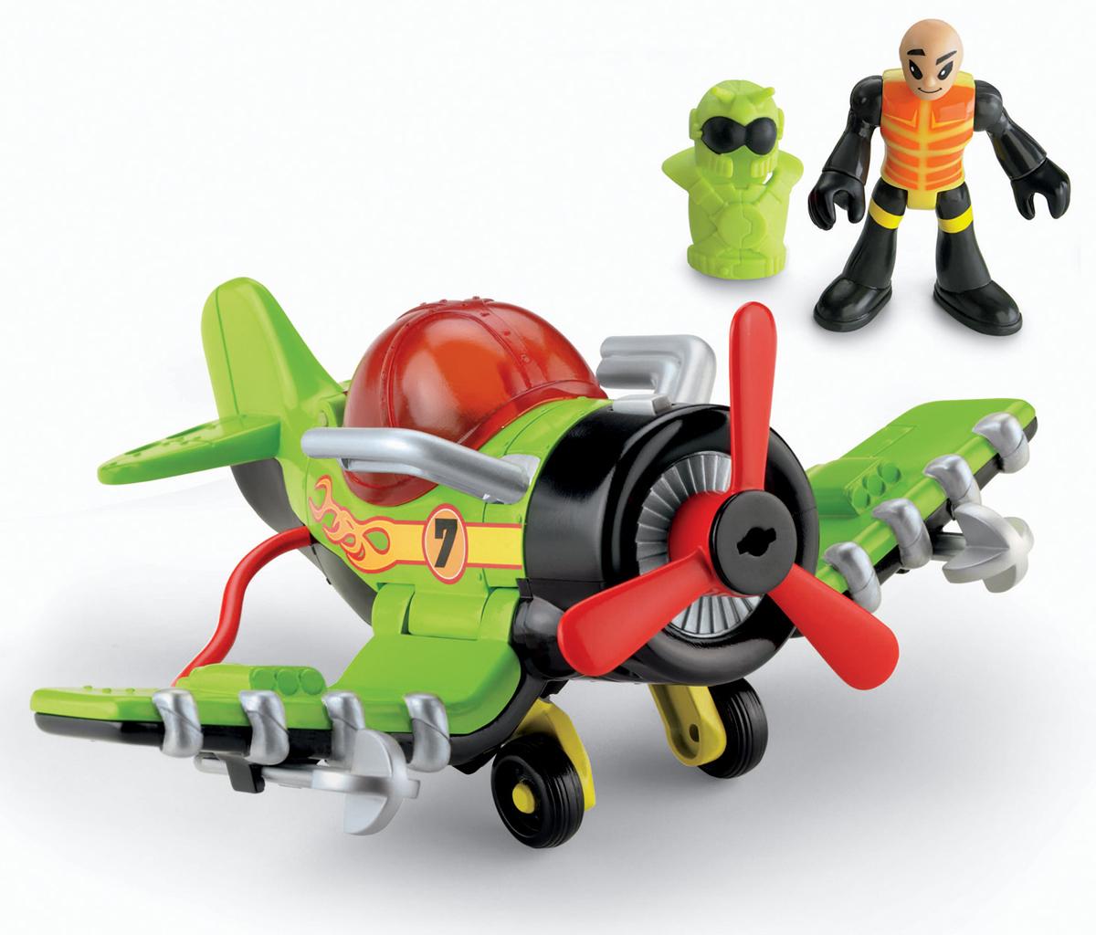 Imaginext Самолет T5308_V4103T5308_V4103Самолет Молния серии Воздушные Гонщики обрадует каждого ребенка, который любит заоблачные приключения и приключения на виражах! Самолет имеет вращающийся пропеллер, убирающимся шасси и складную кабину. В кабину помещается фигурка-пилот. Самолет оснащен реактивными двигателями и обоймой снарядов. Комплект включает в себя: - Пилот Фигурка - Самолет, - Шлем пилота, - 3 ракеты.