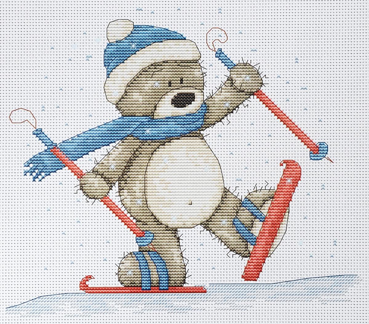 Набор для вышивания крестом Luca-S Медвежонок Бруно, 19 х 17 смB1004Набор для вышивания крестом Luca-S Медвежонок Бруно поможет создать красивую вышитую картину. Рисунок-вышивка, выполненный на канве, выглядит стильно и модно. Вышивание отвлечет вас от повседневных забот и превратится в увлекательное занятие! Работа, сделанная своими руками, не только украсит интерьер дома, придав ему уют и оригинальность, но и будет отличным подарком для друзей и близких! Набор содержит все необходимые материалы для вышивки на канве в технике счетный крест. В набор входит: - канва Aida 16 Zweigart (белого цвета), - нитки мулине Anchor - 100% мерсеризованный хлопок (19 цветов), - черно-белая символьная схема, - инструкция на русском языке, - игла.