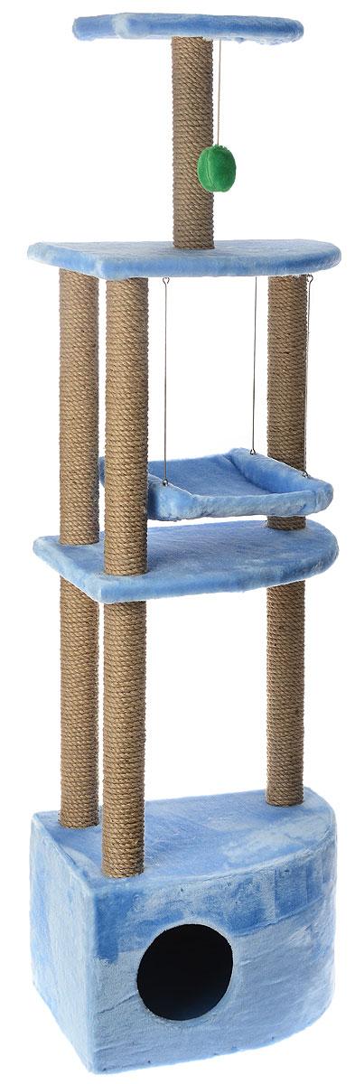 Игровой комплекс для кошек ЗооМарк Бонифаций, с домиком и когтеточкой, цвет: голубой, бежевый, 51 х 36 х 168 см143_голубойИгровой комплекс для кошек ЗооМарк Бонифаций выполнен из высококачественного дерева и обтянут искусственным мехом. Изделие предназначено для кошек. Комплекс имеет 4 яруса. Ваш домашний питомец будет с удовольствием точить когти о специальные столбики, изготовленные из джута. А отдохнуть он сможет на полках или в домике. На одной из полок расположена игрушка, которая еще сильнее привлечет внимание питомца. Также комплекс оснащен качелями. Общий размер: 51 х 36 х 168 см. Размер домика: 51 х 36 х 35 см. Размер больших полок: 49 х 35 см. Размер малой полки: 35 х 25 см. Размер сиденья качелей: 35 х 27 см.