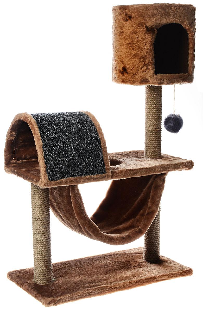 """Игровой комплекс для кошек ЗооМарк """"Кузя"""", цвет: коричневый, серый, бежевый, 69 х 37 х 102 см 142_коричневый"""