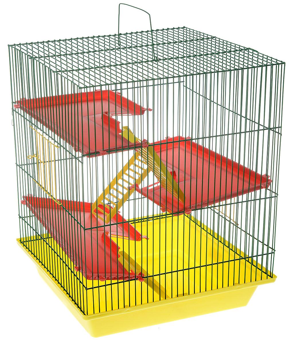 Клетка для грызунов ЗооМарк Гризли, 4-этажная, цвет: желтый поддон, зеленая решетка, красные этажи, 41 х 30 х 50 см240_желтый, зеленыйКлетка ЗооМарк Гризли, выполненная из полипропилена и металла, подходит для мелких грызунов. Изделие четырехэтажное. Клетка имеет яркий поддон, удобна в использовании и легко чистится. Сверху имеется ручка для переноски. Такая клетка станет уединенным личным пространством и уютным домиком для маленького грызуна.