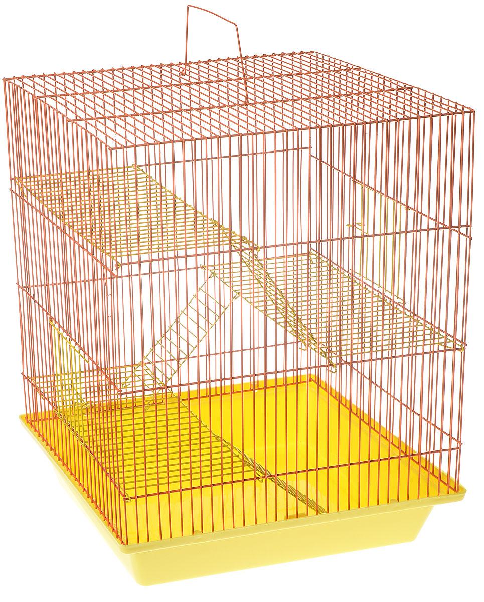 Клетка для грызунов ЗооМарк Гризли, 4-этажная, цвет: желтый поддон, оранжевая решетка, желтый этаж, 41 х 30 х 50 см. 240ж240ж_желтый, оранжевыйКлетка ЗооМарк Гризли, выполненная из полипропилена и металла, подходит для мелких грызунов. Изделие четырехэтажное. Клетка имеет яркий поддон, удобна в использовании и легко чистится. Сверху имеется ручка для переноски. Такая клетка станет уединенным личным пространством и уютным домиком для маленького грызуна.