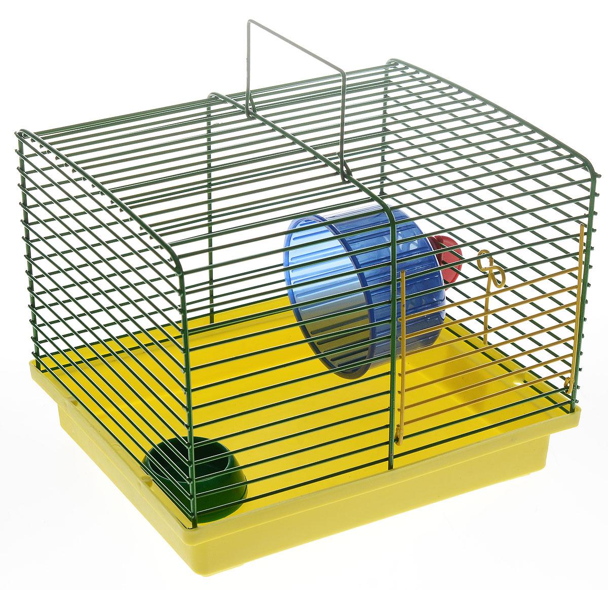 Клетка для хомяка ЗооМарк, с колесом и миской, цвет: желтый поддон, зеленая решетка, 23 х 18 х 18,5 см511_желтый, зеленыйКлетка ЗооМарк, выполненная из пластика и металла, подходит для джунгарского хомячка и других мелких грызунов. Она оборудована колесом для подвижных игр и миской. Клетка имеет яркий поддон, удобна в использовании и легко чистится. Такая клетка станет уединенным личным пространством и уютным домиком для маленького грызуна.