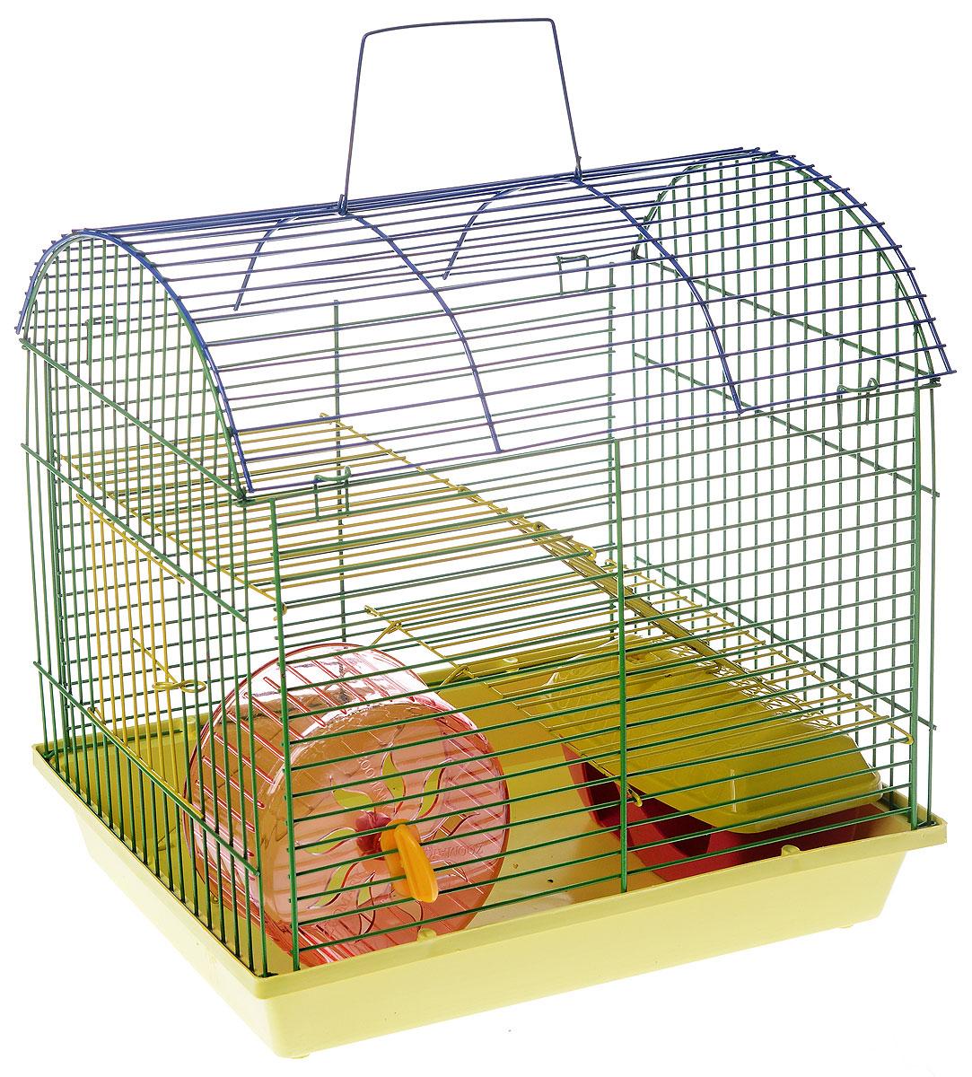 Клетка для грызунов ЗооМарк, 2-этажная, цвет: желтый поддон, зеленая решетка, желтый этаж, 37 х 23 х 35 см112жк_желтый, зеленыйКлетка ЗооМарк, выполненная из полипропилена и металла с эмалированным покрытием, подходит для мелких грызунов. Изделие двухэтажное, оборудовано колесом для подвижных игр и пластиковым домиком. Клетка имеет яркий поддон, удобна в использовании и легко чистится. Сверху имеется ручка для переноски. Такая клетка станет личным пространством и уютным домиком для маленького грызуна. Комплектация: - клетка с поддоном; - колесо; - домик.