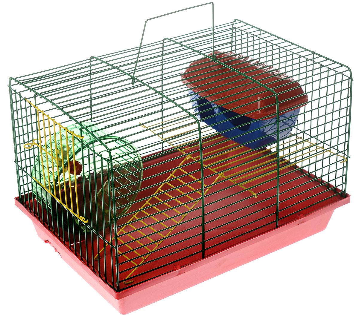 Клетка для грызунов ЗооМарк, 2-этажная, цвет: розовый поддон, зеленая решетка, желтый этаж, 36 х 22 х 24 см. 125ж125ж_розовый, зеленыйКлетка ЗооМарк, выполненная из полипропилена и металла, подходит для мелких грызунов. Изделие двухэтажное, оборудовано колесом для подвижных игр и пластиковым домиком. Клетка имеет яркий поддон, удобна в использовании и легко чистится. Сверху имеется ручка для переноски. Такая клетка станет уединенным личным пространством и уютным домиком для маленького грызуна.