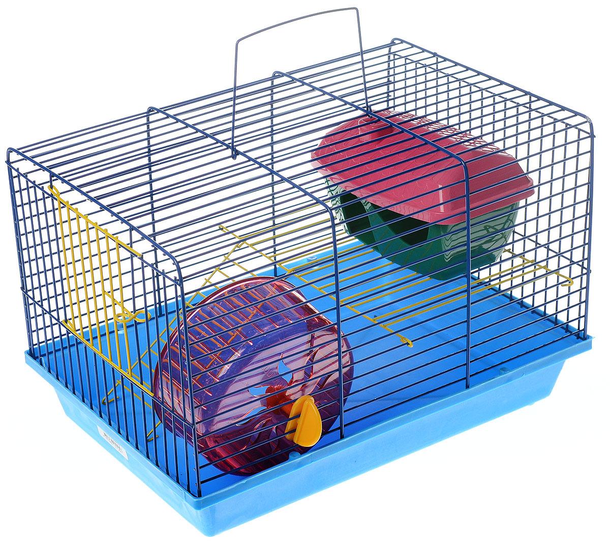 Клетка для грызунов ЗооМарк, 2-этажная, цвет: голубой поддон, синяя решетка, желтый этаж, 36 х 22 х 24 см. 125ж125ж_голубой, синийКлетка ЗооМарк, выполненная из полипропилена и металла, подходит для мелких грызунов. Изделие двухэтажное, оборудовано колесом для подвижных игр и пластиковым домиком. Клетка имеет яркий поддон, удобна в использовании и легко чистится. Сверху имеется ручка для переноски. Такая клетка станет уединенным личным пространством и уютным домиком для маленького грызуна.