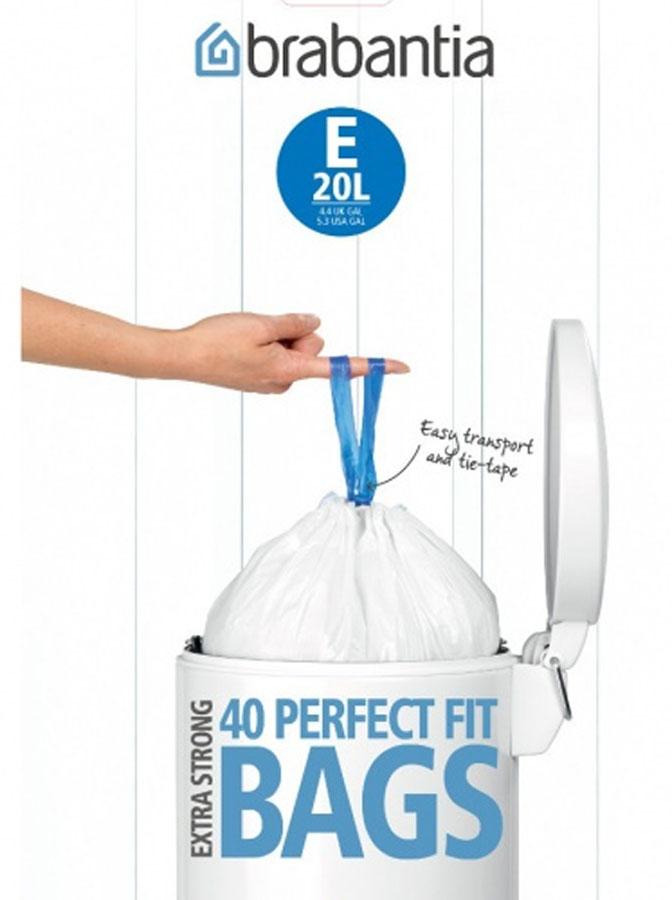 Пакеты для мусора Brabantia, 20 л, 40 шт. 375644375644Одноразовые пакеты Brabantia, выполненные из пластика, предназначены для мусорного бака . Предотвращают загрязнение бака, удобны в использовании и имеют затягивающиеся ручки, которые позволяют затянуть пакет и завязать его. Пакеты имеют высокий удлиненный край, который крепится за края бака.