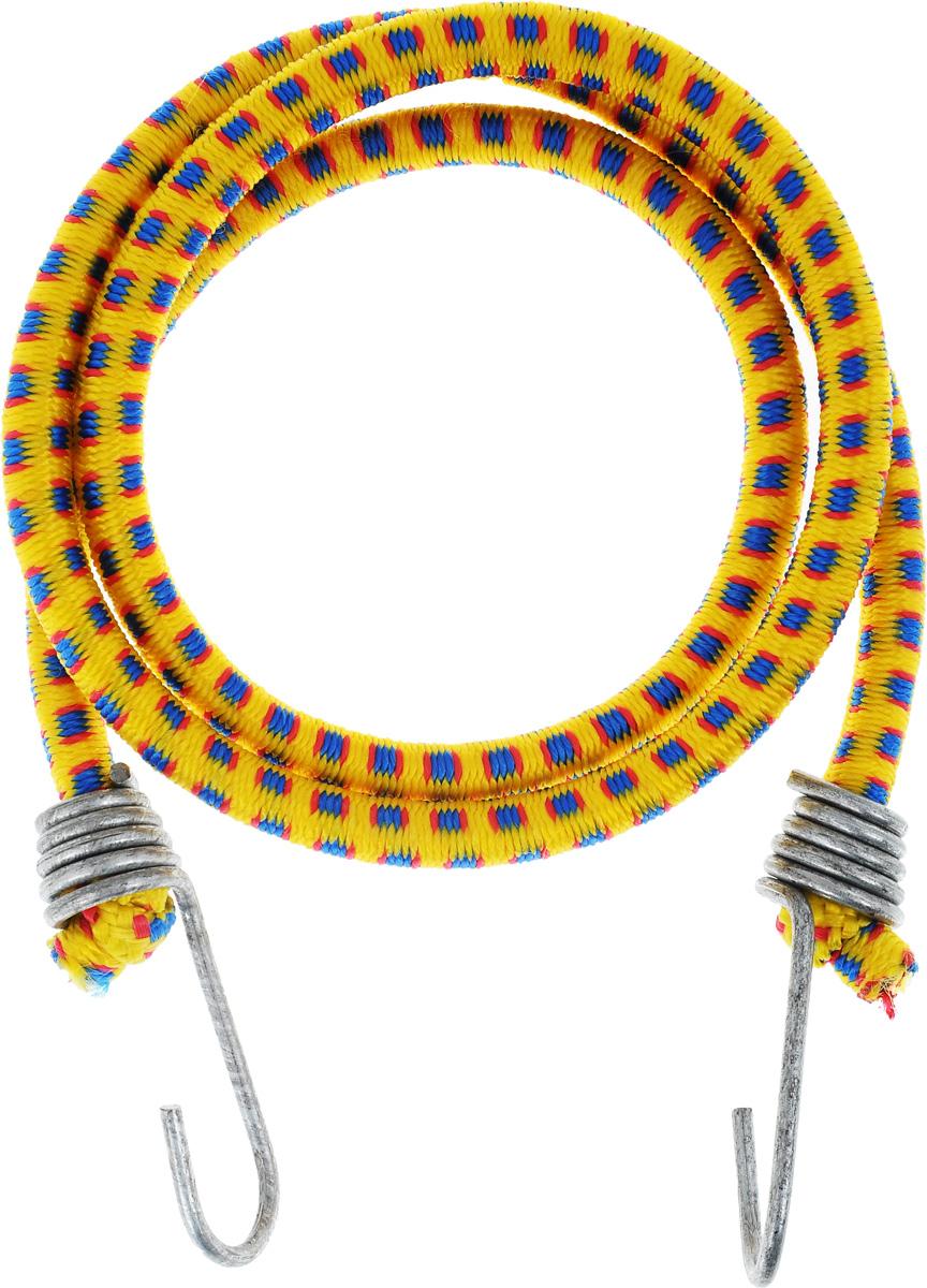 Резинка багажная МастерПроф, с крючками, цвет: желтый, синий, красный, 1 х 110 смAC.020023_желтый, синий, красныйБагажная резинка МастерПроф, выполненная из натурального каучука, оснащена специальными металлическими крючками, которые обеспечивают прочное крепление и не допускают смещения груза во время его перевозки. Изделие применяется для закрепления предметов к багажнику. Такая резинка позволит зафиксировать как небольшой груз, так и довольно габаритный. Температура использования: -15°C до +50°C. Безопасное удлинение: 60%. Диаметр резинки: 1 см. Длина резинки: 110 см.