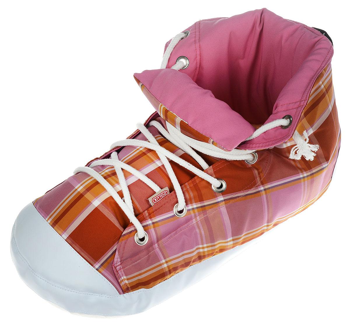 Лежанка-тапок для кошек Zolux, цвет: розовый, коричнево-желтый, белый, 54 х 25 х 27 см3336025002154 / 500215OSЛежанка-тапок Zolux станет лучшим подарком для вашего любимца. Изделие выполнено из хлопчатобумажной ткани, а наполнитель - мягкий синтепон. Шуршащая стенка надолго привлечет внимание кошки и обеспечит интересным времяпровождением. Съемная подстилка позволяет легко содержать лежанку в чистоте. В таком лежаке в виде ботинка вашему питомцу будет комфортно и уютно, животное всегда найдет там укрытие и сможет спрятаться. С помощью специальной петли изделие можно подвесить.