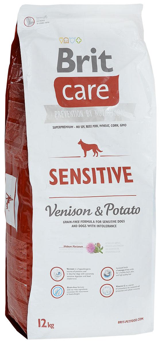 Корм сухой Brit Care Sensitive для собак с чувствительным пищеварением, с олениной и картофелем, 12 кг8595602510801Сухой полнорационный корм Brit Care Sensitive предназначен для собак с чувствительным пищеварением и при пищевой непереносимости. Специально разработанный состав улучшает баланс микрофлоры кишечника. Товар сертифицирован.