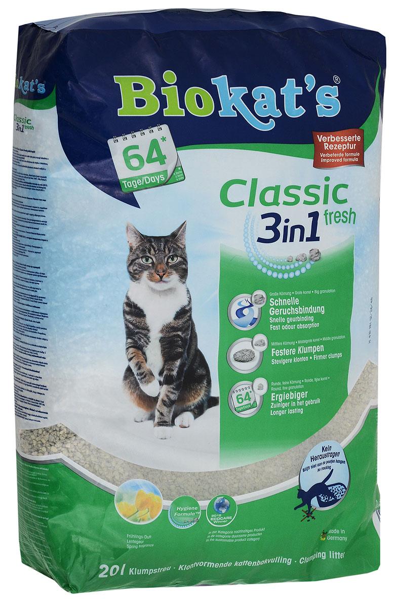 """Наполнитель для кошачьего туалета Biokat's """"Classic Fresh"""", комкующийся, с ароматом весенних трав, 20 л 4002064615776"""