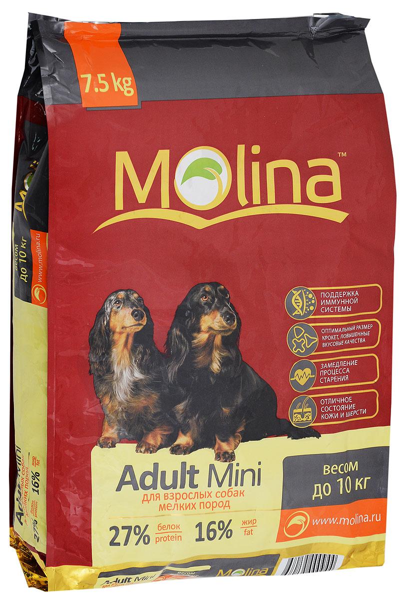 Корм сухой Molina Adult Mini для взрослых собак мелких пород, 7,5 кг4680265000944Полнорационный сухой корм Molina Adult Mini предназначен для взрослых собак мелких пород весом до 10 кг. Специальный комплекс витаминов и антиоксидантов способствует поддержанию иммунитета, замедляет процесс старения и защищает от последствий стресса. Содержание жирных кислот Омега-6 и Омега-3 обеспечивает правильное развитие нервной системы и отличное состояние кожи и шерсти. Вкусовая формула и состав корма позволяют оптимально усваивать питательные вещества. Товар сертифицирован.