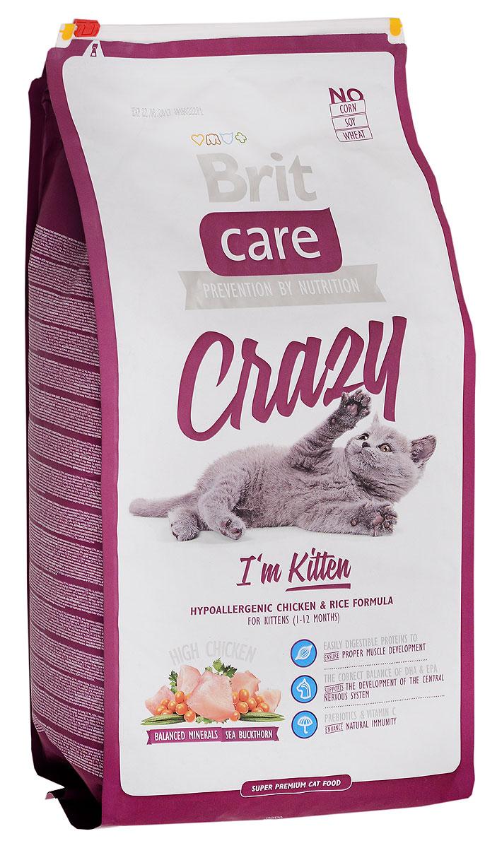 Корм сухой Brit Care Crazy для котят, беременных и кормящих кошек, с курицей и рисом, 7 кг8595602505517Гипоаллергенный корм Brit Care Crazy предназначен для котят в возрасте 1-12 месяцев, беременных и кормящих кошек. Содержит в себе большое количество мяса. Корм обладает сбалансированным минеральным составом. Включает в себя облепиху крушиновидную, витамин С и гексаметафосфат натрия. Товар сертифицирован.