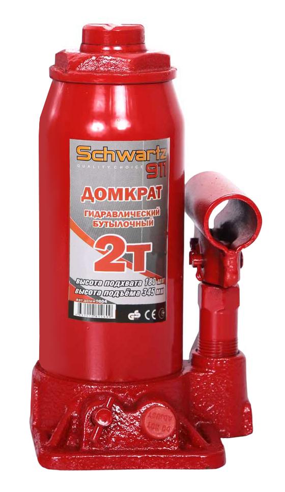 Домкрат гидравлический бутылочный Schwartz-911, 2 т, 180-345 мм, цвет: красный