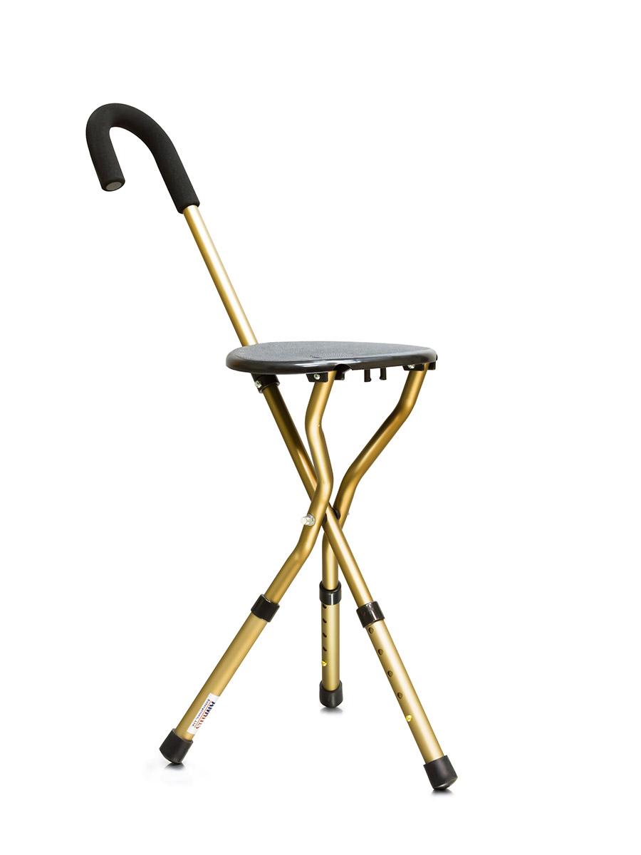 Amrus Трость металлическая комбинированная со складным трехопорным стулом (с регулируемой высотой) AMCS37
