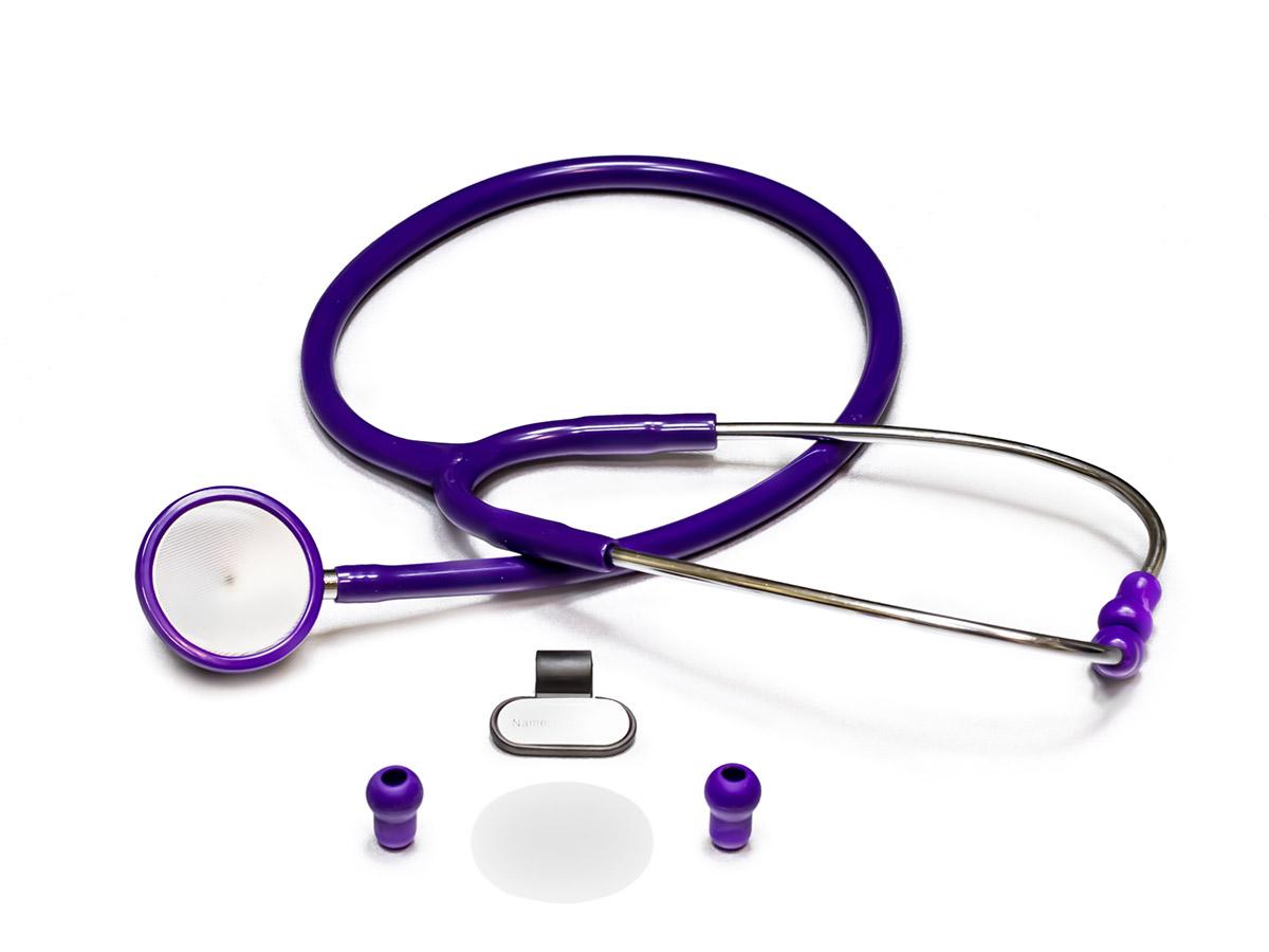 Amrus Стетоскоп медицинский двухсторонний терапевтический с внутр. пружиной улучшенной акустической проводимости, Premium Диаметр мембраны 47 мм., диаметр воронки 32 мм 04-AM41004-AM410Характеристики: Инновационный дизайн, улучшенные акустические свойства; Двусторонняя металлическая вращающаяся головка с чувствительной мембраной и воронкой улучшенной проводимости; Не вызывающее озноба кольцо с обеих сторон головки; Простой поворотный механизм переключения между рабочими поверхностями воронки и мембраны; Утолщенные звукопроводящие трубки обеспечивают наилучшую изоляцию от посторонних шумов; Внутренняя пружина улучшает акустические свойства стетоскопа; Мягкие виниловые ушные оливы закругленной формы для комфортной изоляции внешнего слухового канала; Диаметр мембраны - 47 мм.; Диаметр воронки - 32 мм.; Диаметр трубок - 9 мм.; Длина трубки - 55 мм.; Цветовая гамма: фиолетовый Гарантийный срок эксплуатации – один год со дня ввода в эксплуатацию. Прибор категории Премиум для аускультации сердца, легких и других внутренних органов у взрослых пациентов.