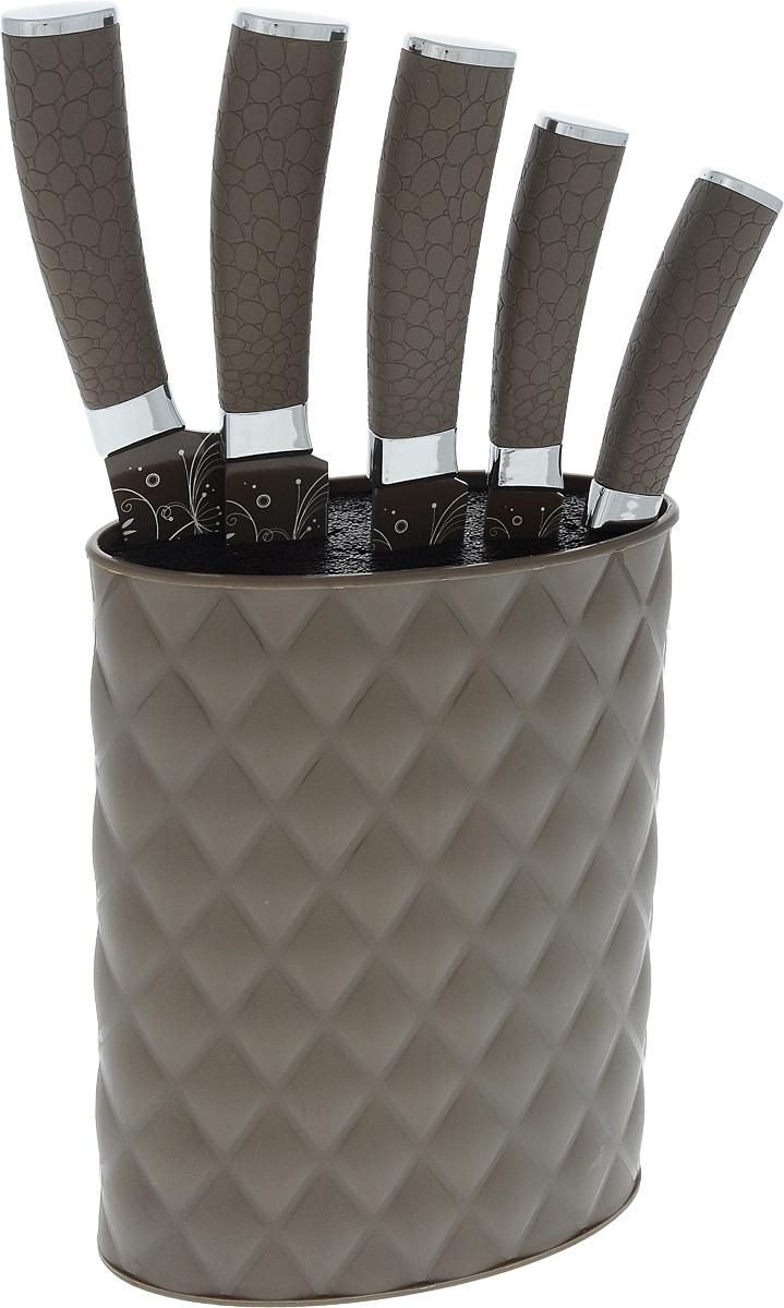 Набор ножей Moonstar, на подставке, 6 предметовMS14-01077Набор Moonstar состоит из 5 ножей и подставки. Лезвия выполнены из высококачественной нержавеющей стали с гладкой, легко очищаемой поверхностью. Рукоятки, выполненные из пластика с покрытием soft-touch, обеспечивают комфортный и легко контролируемый захват. Ножи прекрасно подходят для ежедневной резки фруктов, овощей и мяса. Предметы набора компактно размещаются на подставке из пластика. В набор входят: - универсальный нож; - нож для хлеба; - нож разделочный (слайсер); - поварской нож; - нож для очистки овощей. Этот набор включает все необходимое для каждодневного приготовления пищи. Стильный дизайн украсит интерьер вашей кухни. Общая длина поварского ножа: 32,5 см. Длина лезвия поварского ножа: 19,7 см. Общая длина ножа для хлеба: 32,5 см. Длина лезвия ножа для хлеба: 20 см. Общая длина ножа разделочного: 32,5 см. Длина лезвия ножа разделочного: 20 см. Общая длина универсального...