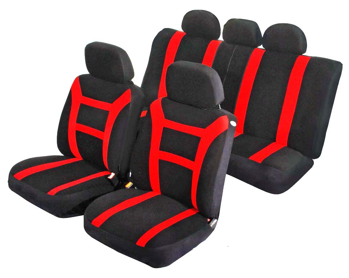 Чехлы на автомобильное кресло Azard Pride, универсальные, 11 предметов, цвет: красныйAV011163Универсальные чехлы из мягкого велюра с вставками из формованного велюра. Применимы для 95% легкового автопарка РФ. Благодаря особому крою типа В чехлы идеально облегают сидения автомобиля. Специальный боковой шов позволяет применять авто чехлы в автомобилях с боковыми подушками безопасности (AIR BAG). Раздельная схема надевания обеспечивает легкую установку авто чехлов. Дополнительное удобство создает наличие предустановленных крючков, утягивающего шнура, фиксирующей липучки на передних спинках, а также предустановленной прорези для установки подголовника. Материал триплирован огнеупорным поролоном 3 мм, за счет чего чехол приобретает дополнительную мягкость и устойчивость к возгоранию. Авточехлы AZARD Велюр Pride износоустойчивы и легко стирается в стиральной машине.