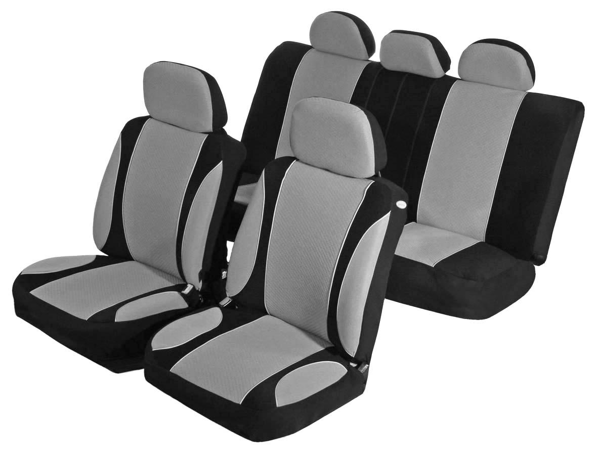 Чехлы для сидений Azard Sky Jet, универсальные, 11 предметов, цвет: серыйAV021161Универсальные чехлы из автомобильного велюра. Применимы для 95% легкового автопарка РФ. Благодаря особому крою типа «В» чехлы идеально облегают сидения автомобиля. Специальный боковой шов позволяет применять авто чехлы в автомобилях с боковыми подушками безопасности (AIR BAG). Раздельная схема надевания обеспечивает легкую установку авто чехлов. Дополнительное удобство создает наличие предустановленных крючков, утягивающего шнура, фиксирующей липучки на передних спинках, а также предустановленной прорези для установки подголовника. Материал триплирован огнеупорным поролоном 3 мм, за счет чего чехол приобретает дополнительную мягкость и устойчивость к возгоранию. Авточехлы AZARD Велюр Sky Jet износоустойчивы и легко стирается в стиральной машине.