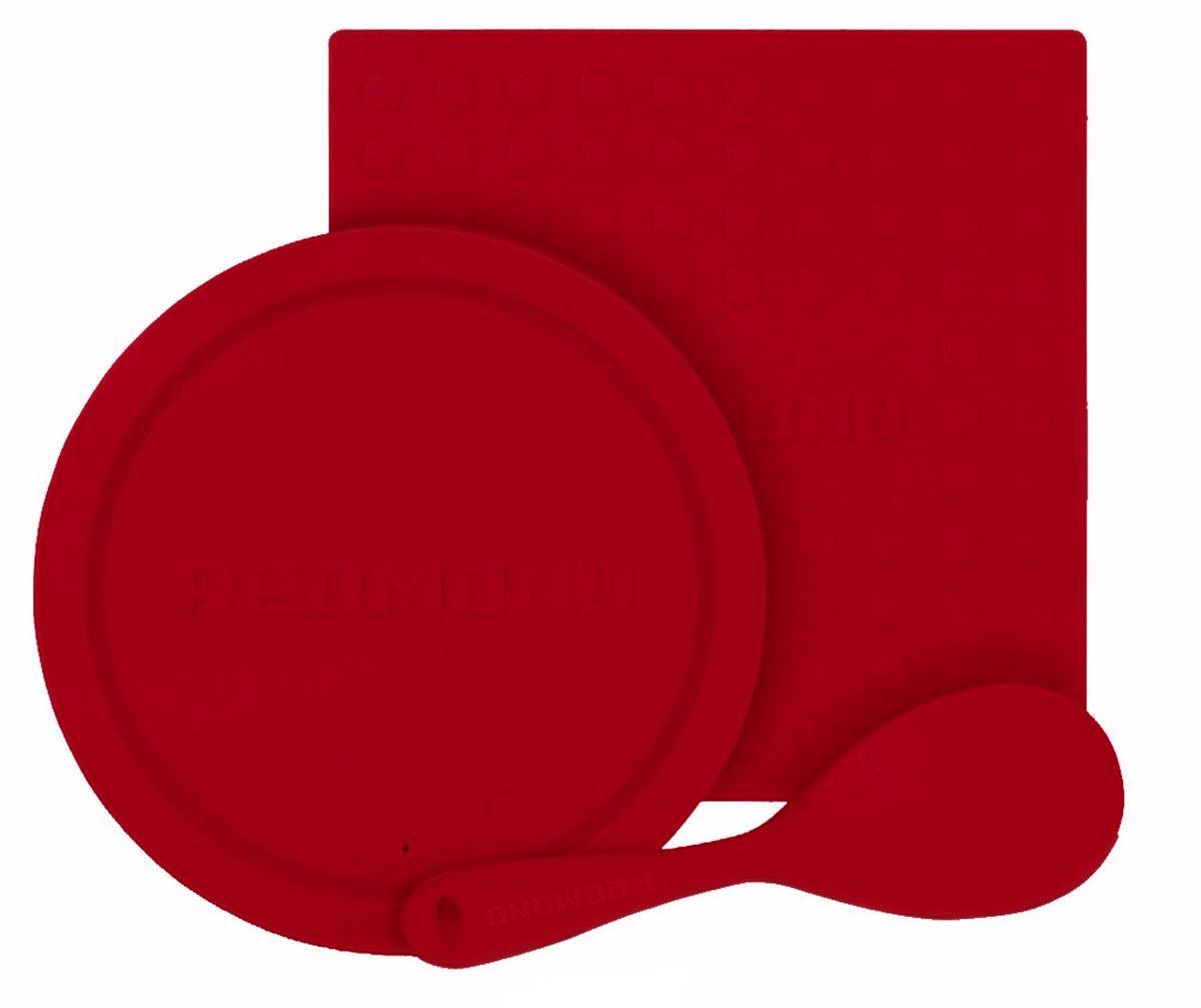Redmond RAM-SS3 набор силиконовых аксессуаров для кухниRAM-SS3Набор силиконовых аксессуаров Redmond RAM-SS3 состоит из плоской ложки, универсальной крышки и подставки под горячую посуду, изготовленных из термостойкого пищевого силикона. Они не теряют форму, не впитывают запахи и жир и созданы специально для того, чтобы процесс приготовления любимых блюд стал для вас комфортным и безопасным. Плоская ложка подходит для любых поверхностей, имеет эргономичную ненагревающуюся ручку. Универсальная крышка подойдет для чаш мультиварок 3/4/5 л и другой посуды соответствующего диаметра (22 - 24 см). Подставка под горячее защищает поверхности от горячей посуды, надежно фиксируется и может использоваться в качестве прихватки (размер: 26 x 26 см).