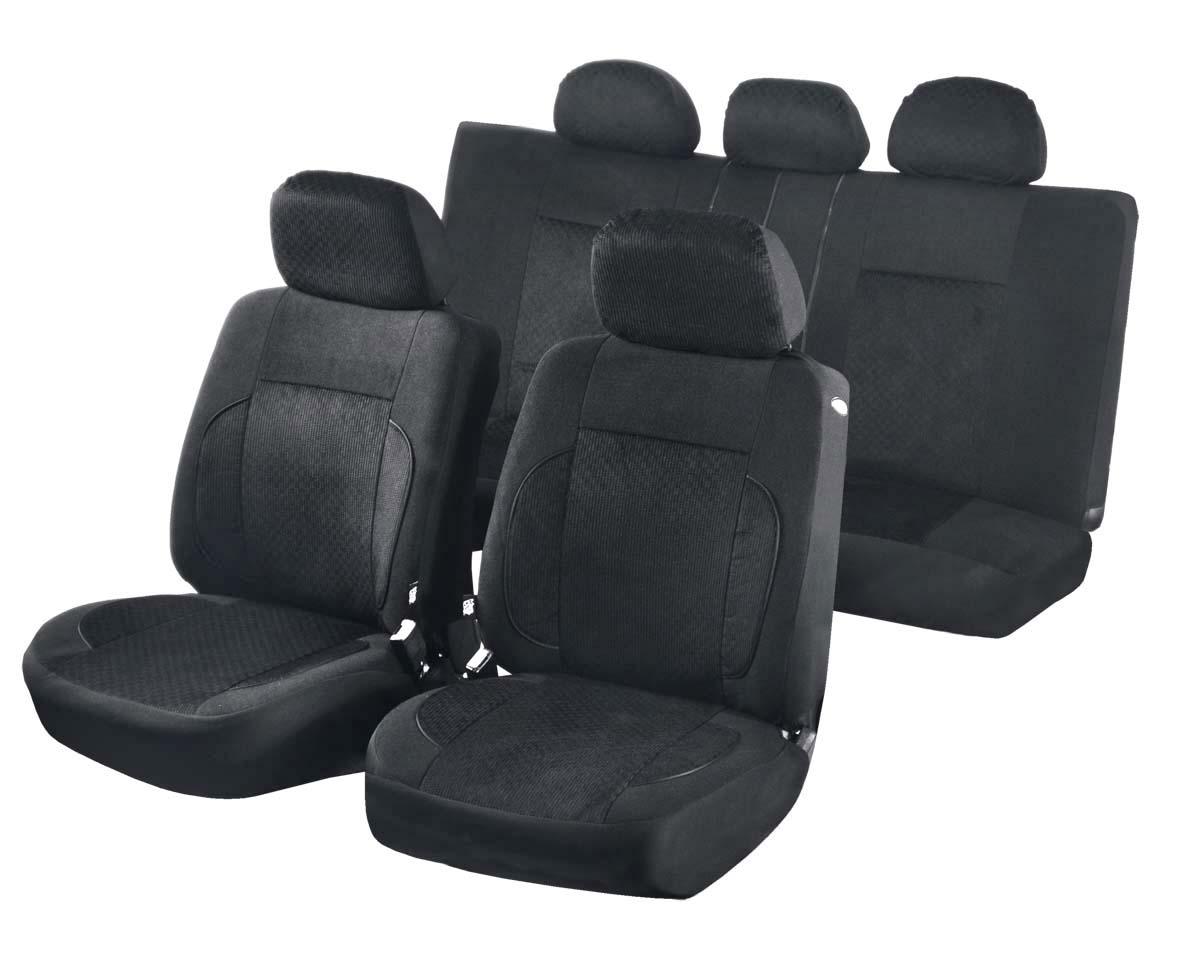 Чехлы для сидений Azard Pilot, универсальные, 11 предметов, цвет: черныйAV051161Универсальные чехлы из уникального автомобильного велюра. Применимы для 95% легкового автопарка РФ. Благодаря особому крою типа В чехлы идеально облегают сидения автомобиля. Специальный боковой шов позволяет применять авто чехлы в автомобилях с боковыми подушками безопасности (AIR BAG). Раздельная схема надевания обеспечивает легкую установку авто чехлов. Дополнительное удобство создает наличие предустановленных крючков, утягивающего шнура, фиксирующей липучки на передних спинках, а также предустановленной прорези для установки подголовника. Материал триплирован огнеупорным поролоном 3 мм, за счет чего чехол приобретает дополнительную мягкость и устойчивость к возгоранию. Авточехлы AZARD Велюр Pilot износоустойчивы и легко стирается в стиральной машине.