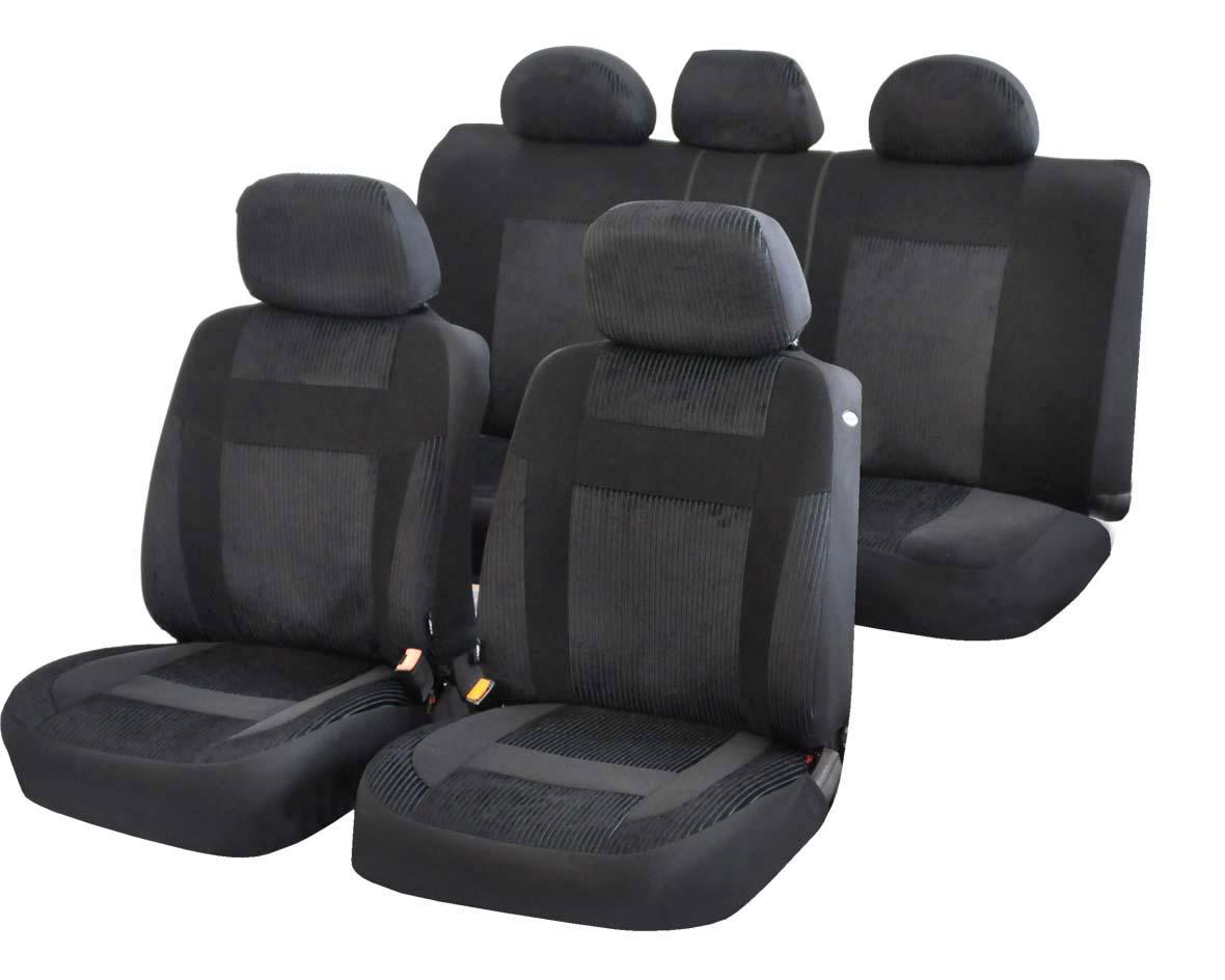 Чехлы на автомобильное кресло Azard Element, универсальыне, 11 предметов, цвет: черныйAV041161Универсальные чехлы из автомобильного велюра. Материал имеет ярко выраженную вельветовую структуру. Применимы для 95% легкового автопарка РФ. Благодаря особому крою типа «В» чехлы идеально облегают сидения автомобиля. Специальный боковой шов позволяет применять авто чехлы в автомобилях с боковыми подушками безопасности (AIR BAG). Раздельная схема надевания обеспечивает легкую установку авто чехлов. Дополнительное удобство создает наличие предустановленных крючков, утягивающего шнура, фиксирующей липучки на передних спинках, а также предустановленной прорези для установки подголовника. Материал триплирован огнеупорным поролоном 3 мм, за счет чего чехол приобретает дополнительную мягкость и устойчивость к возгоранию. Авточехлы AZARD Велюр Element износоустойчивы и легко стирается в стиральной машине.