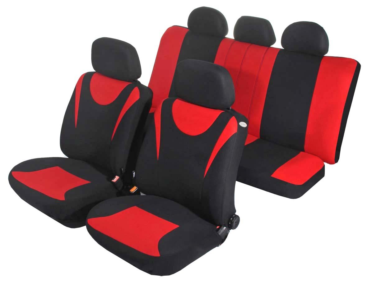 """Чехол на автомобильное кресло универсальный Azard """"Hunter"""", 11 предметов, карман, 3 молнии, цвет: красный"""