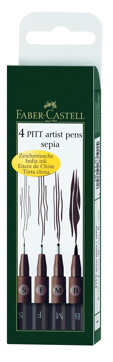 Faber-Castell Ручка капиллярная Pitt Artist Pen цвет коричневый 4 шт167101Капиллярные ручки Faber-Castell Pitt Artist Pen станут незаменимым атрибутом учебы или работы. Корпус ручек выполнен из пластика коричневого цвета с черными колпачками. Высококачественные PH-нейтральные чернила коричневого цвета устойчивы к воздействию солнечных лучей, после высыхания не размазываются на бумаге. Ручки оснащены упругим клипом для удобной фиксации на бумаге или одежде. В наборе 4 ручки с коричневыми чернилами с разным диаметром наконечника.