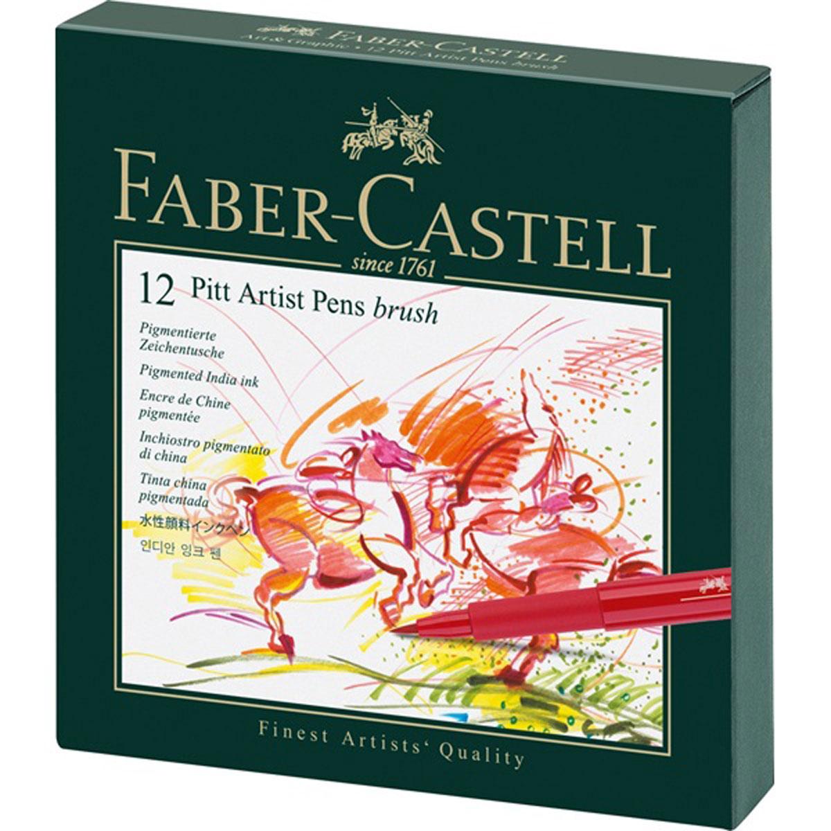 Faber-Castell Набор капиллярных ручек Pitt Artist Pens 12 шт167146Набор капиллярных ручек Faber-Castell Pitt Artist Pens включает в себя 12 современных художественных капиллярных ручек для набросков тушью, рисования и живописи с наконечником-кисточкой. Ручки идеальны для художников, дизайнеров, иллюстраторов, архитекторов и всех, кто любит создавать цветные рисунки. PH-нейтральные чернила без содержания кислот устойчивы к воздействию солнечных лучей, после высыхания водоустойчивы, не размазываются на бумаге, содержат пигменты наивысшего качества. Качественный наконечник-кисточка гарантирует максимальную упругость и надежную подачу чернил.