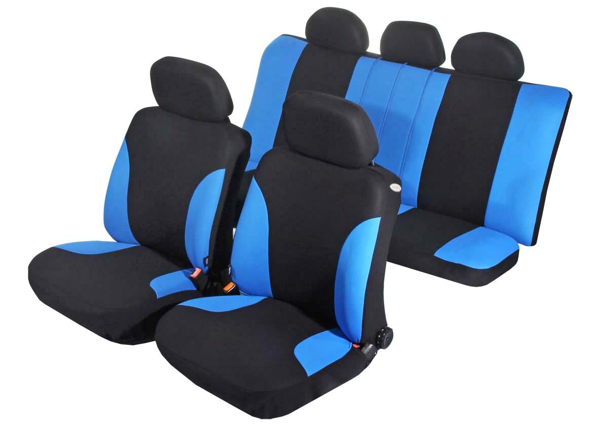 """Чехол на автомобильное кресло универсальный Azard """"Favorit"""", 11 предметов, карман, 3 молнии, цвет: синий"""