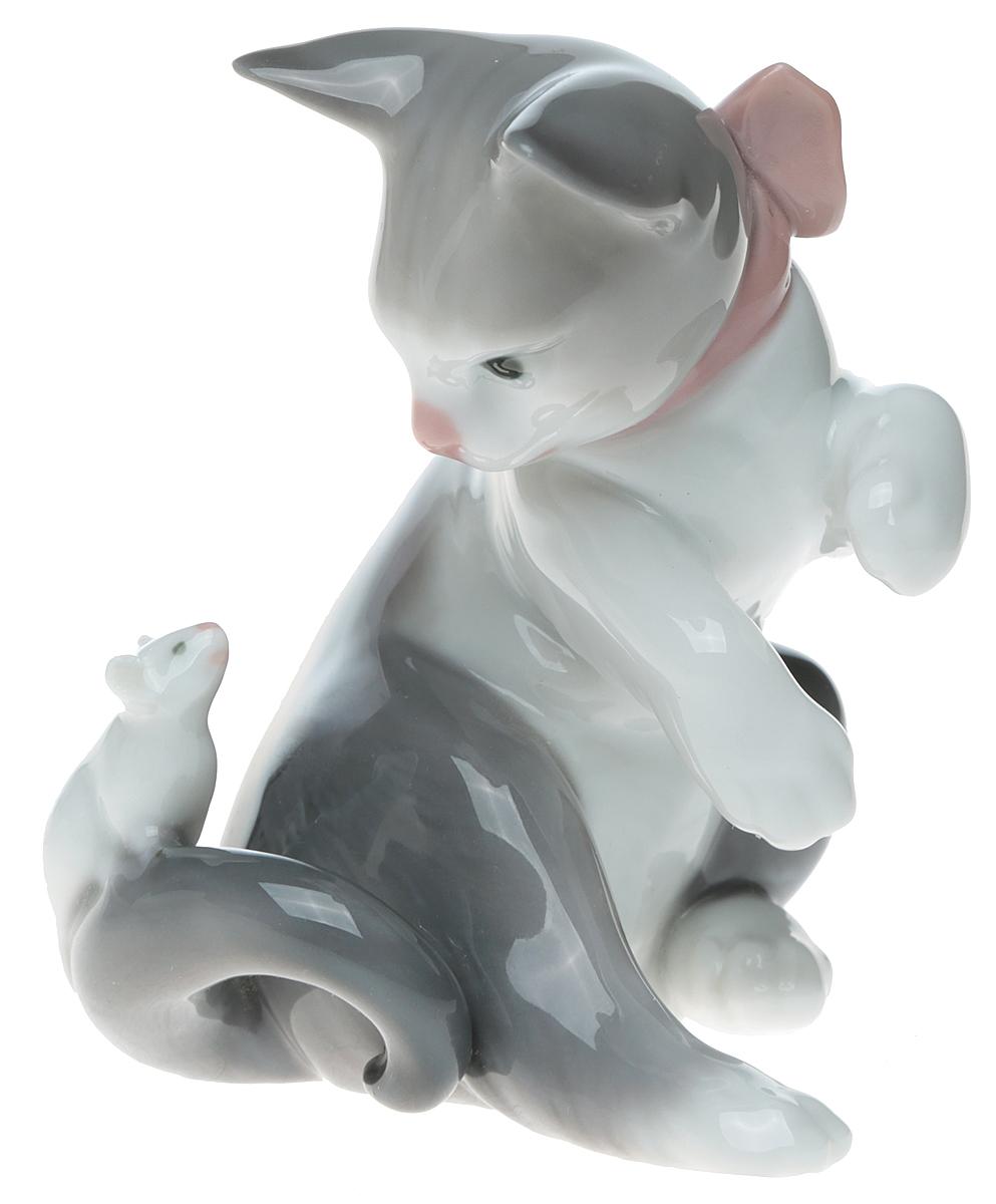 """Lladro! Статуэтка """"Кошка с мышкой"""". Фарфор, ручная роспись, глазуровка. Высота 10 см. Lladro, Испания (Валенсия), 1984 год"""