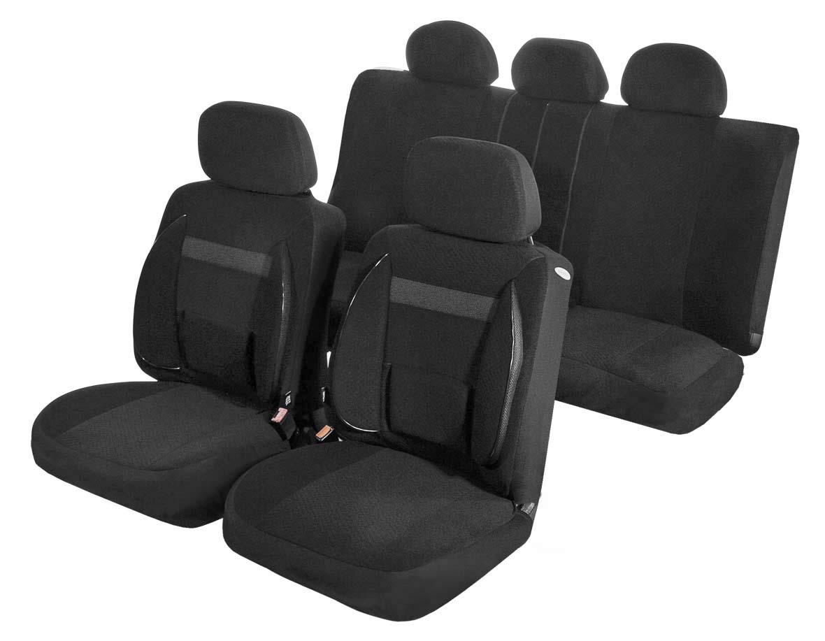 Чехлы для сидений Azard Support, универсальные, 11 предметов, цвет: черныйAV031161Универсальные чехлы из автомобильного велюра. Применимы для 95% легкового автопарка РФ. Благодаря особому крою типа В чехлы идеально облегают сидения автомобиля. Специальный боковой шов позволяет применять авто чехлы в автомобилях с боковыми подушками безопасности (AIR BAG). Ортопедическую поддержку спины и ног по достоинству оценят водители, проводящие за рулем длительное время. Раздельная схема надевания обеспечивает легкую установку авто чехлов. Дополнительное удобство создает наличие предустановленных крючков, утягивающего шнура, фиксирующей липучки на передних спинках, а также предустановленной прорези для установки подголовника. Материал триплирован огнеупорным поролоном 3 мм, за счет чего чехол приобретает дополнительную мягкость и устойчивость к возгоранию. Авточехлы Azard Support износоустойчивы и легко стирается в стиральной машине. Универсальные чехлы из автомобильного велюра. Применимы для 95% легкового автопарка РФ. Благодаря особому...