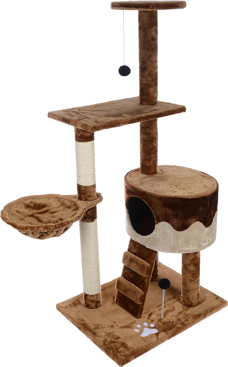 Игровой комплекс для кошек Aimigou, цвет: коричневый, бежевый, 90 х 51 х 130 смQQ80334A-3Игровой комплекс для кошек Aimigou выполнен из высококачественного ДСП и обтянут искусственным мехом. Изделие предназначено для кошек. Ваш домашний питомец будет с удовольствием точить когти о специальные столбики, изготовленные из сизаля. А отдохнуть он сможет либо на полках, либо на гамаке, либо в домике. Изделие оснащено небольшой лесенкой. На основании и на одной из полок расположена игрушка, которая еще сильнее привлечет внимание питомца. Общий размер: 90 х 51 х 130 см. Размер основания: 62 х 47 см. Размер нижней полки: 49 х 30 см. Диаметр верхней полки: 29 см. Размер домика: 41 х 35 х 25 см. Размер гамака: 42 х 30 см. Размер лесенки: 32 х 16 см.