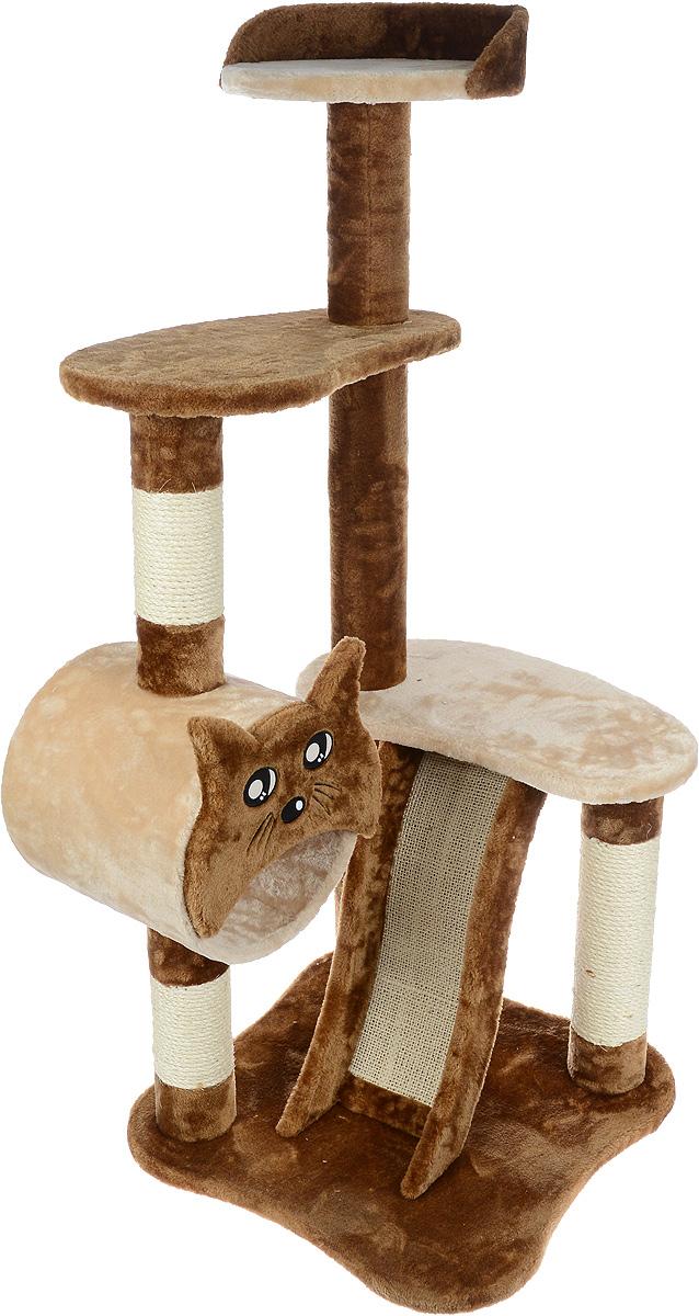Игровой комплекс для кошек Aimigou, цвет: коричневый, бежевый, 50 х 50 х 118 смQQ80106-10Игровой комплекс для кошек Aimigou выполнен из высококачественного ДСП и обтянут искусственным мехом. Изделие предназначено для кошек. Ваш домашний питомец будет с удовольствием точить когти о специальные столбики или горку, изготовленные из сизаля. А отдохнуть он сможет либо на полках, либо в трубе. Общий размер: 50 х 50 х 118 см. Размер основания: 50 х 49 см. Размер больших полок: 50 х 28 см. Размер верхней полки: 31 х 30 см. Размер трубы: 26 х 26 х 26 см.